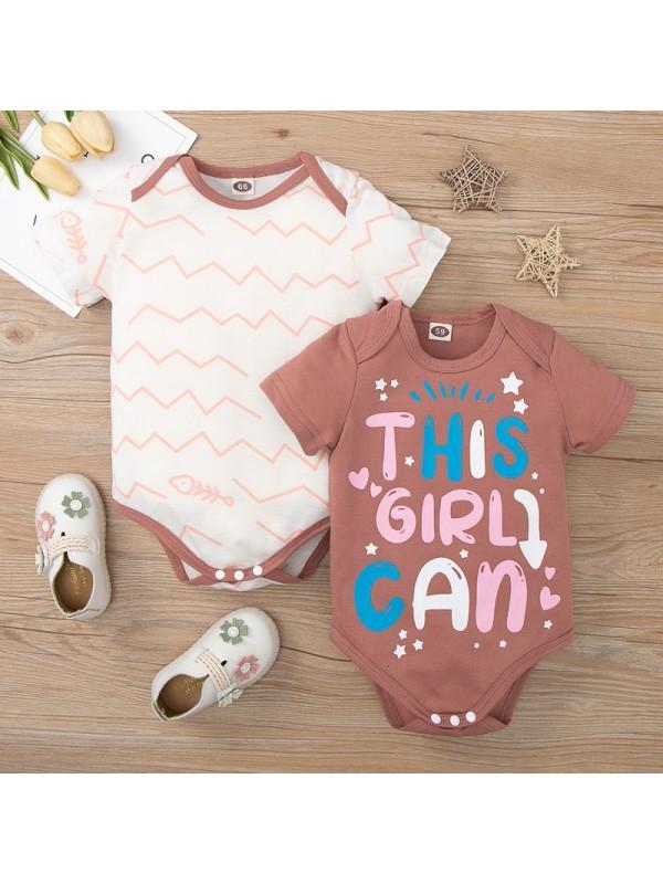【50-80cm】Baby Short-sleeved Spot Letter Print Romper