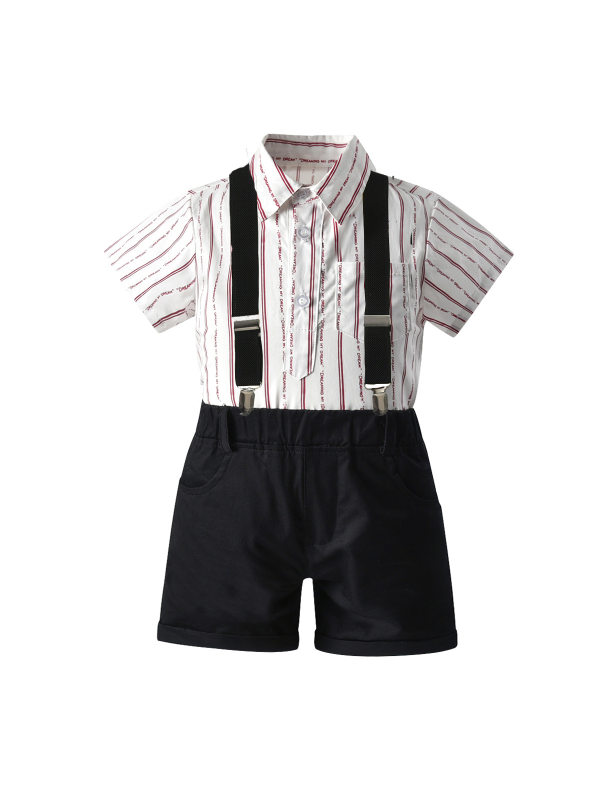 【12M-7Y】Boys Striped Short-sleeved Shirt Solid Color Strap Shorts Three-piece Suit