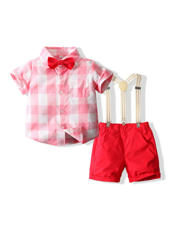 【18M-7Y】Summer Pink And White Plaid Red Shorts Gentleman Suit
