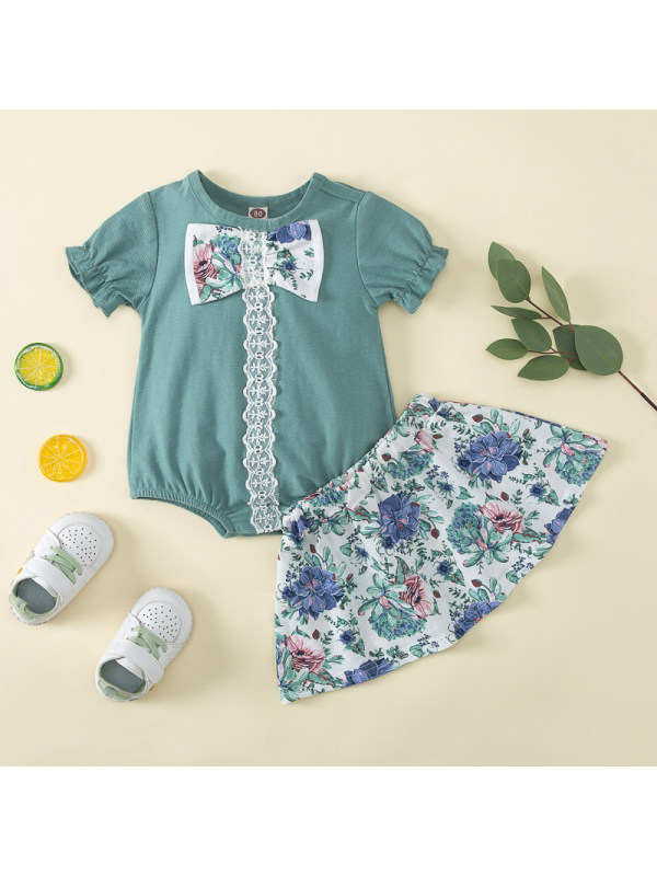 【9M-3Y】Baby Girl Floral Bowknot Romper and Skirt Set