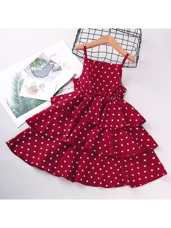 【3Y-13Y】Girls' Polka Dot Sleeveless Dress