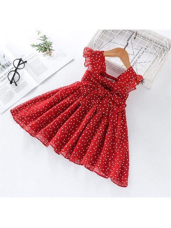【18M-7Y】Girls' Polka Dot Sleeveless Dress
