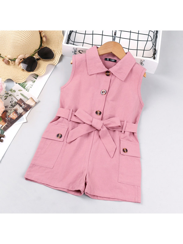 【18M-7Y】Girl's Lapel Sleeveless Single-breasted Jumpsuit