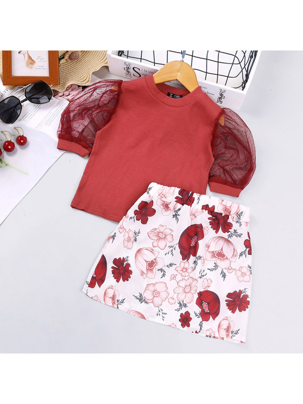 【18M-7Y】Girls Bubble Short-sleeved Blouse Floral Short Skirt Two-piece Suit
