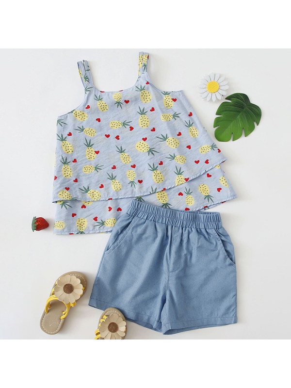 【18M-7Y】Girls Sweet Pineapple Pattern Top Denim Shorts Set