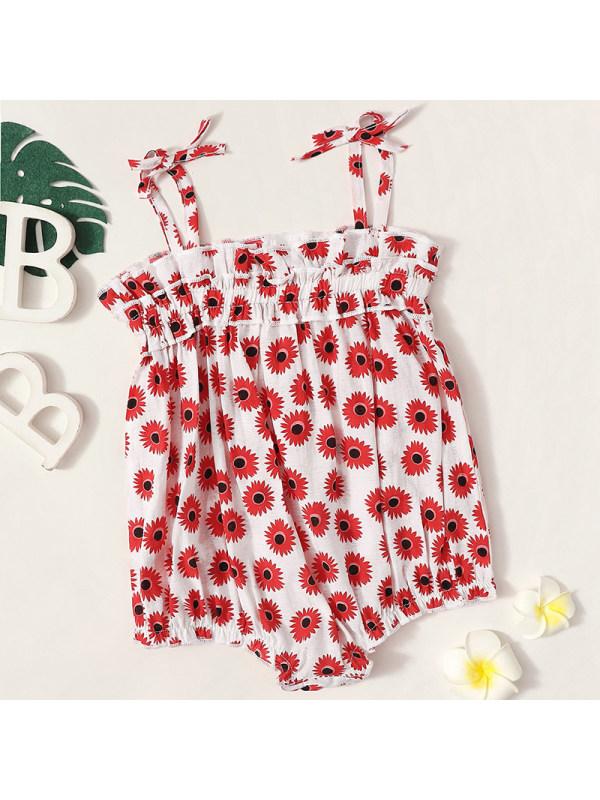 【6M-24M】Baby Girl Red Flower Romper