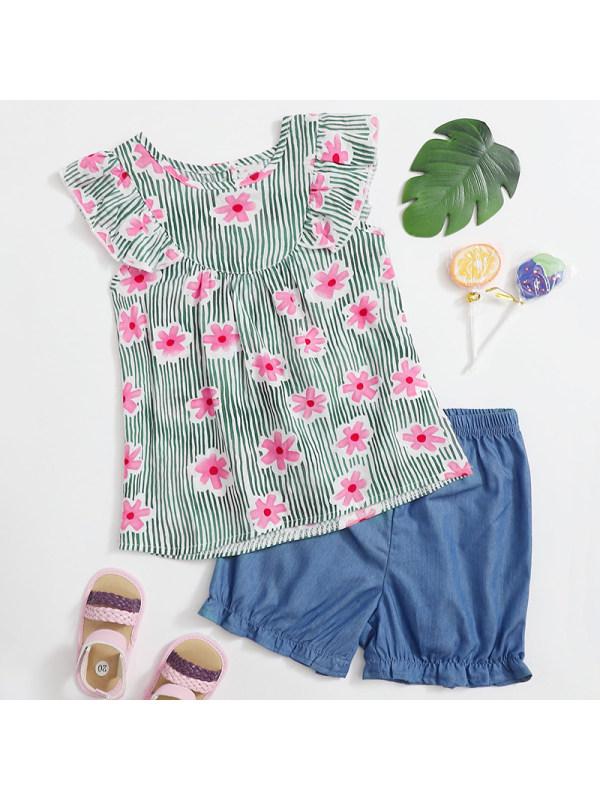 【18M-7Y】Girls Sweet Floral Top Denim Shorts Set