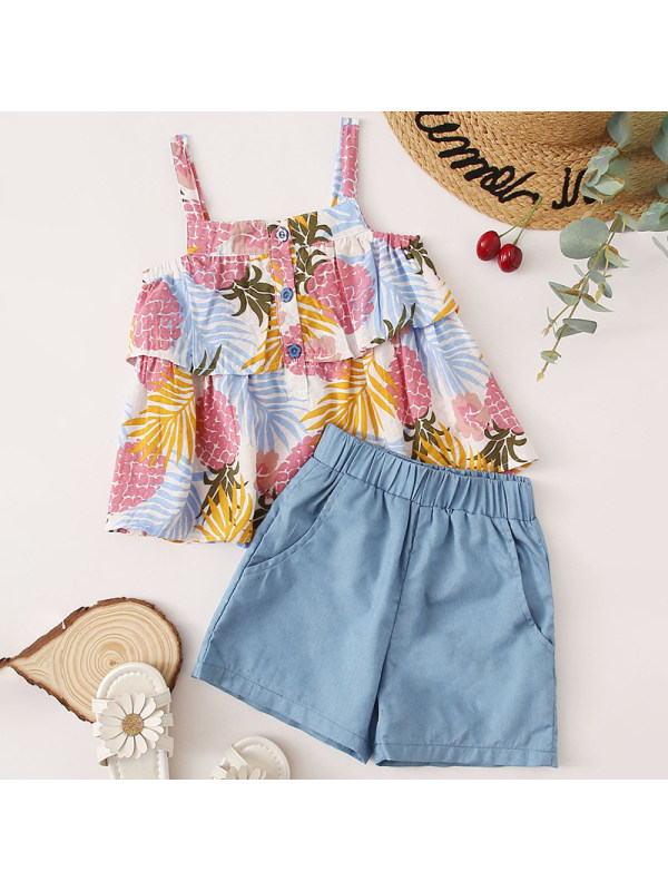 【18M-7Y】Girl Sweet Leaf Print Sling Top Denim Shorts Set