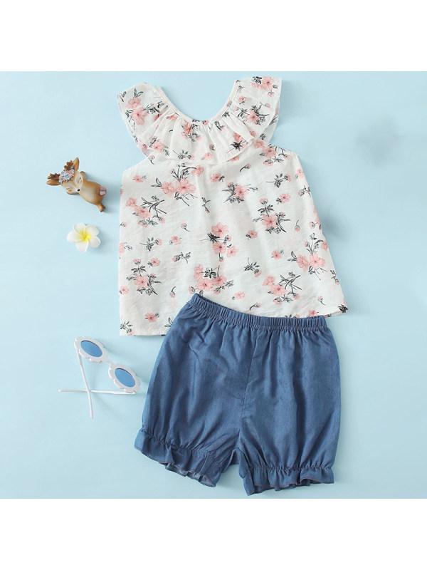 【18M-7Y】Girl Sweet Floral Top Denim Shorts Set
