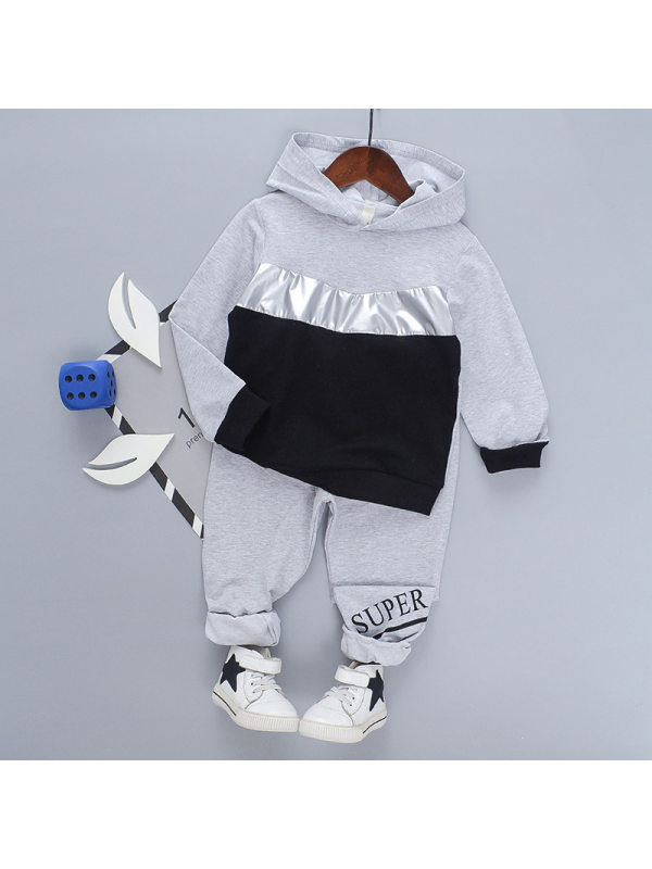 【18M-7Y】Boy's Long-sleeved Hooded Contrast Stitching Sports Two-piece Suit