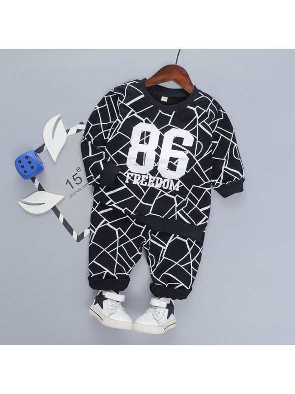 【18M-7Y】Boy's Letter Print Long Sleeve Sports Two-piece Suit