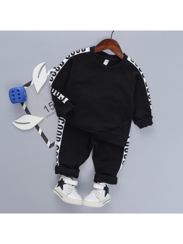 【18M-7Y】Boy's Letter Stitching Long Sleeve Sports Two-piece Suit