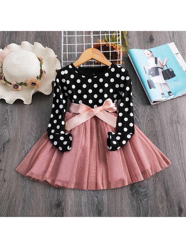 【18M-7Y】Girl Polka Dot Long-sleeved Dress