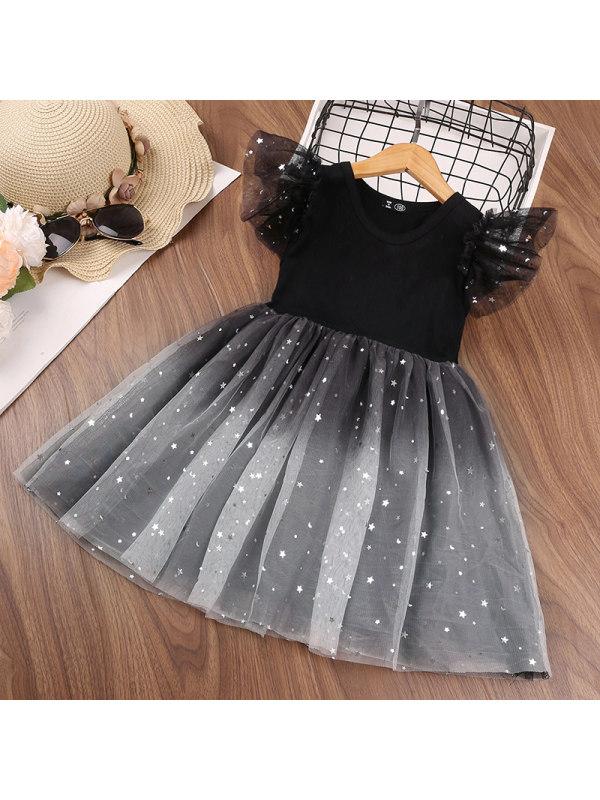 【18M-13Y】Girls Star Gradient Mesh Flying Sleeve Princess Dress