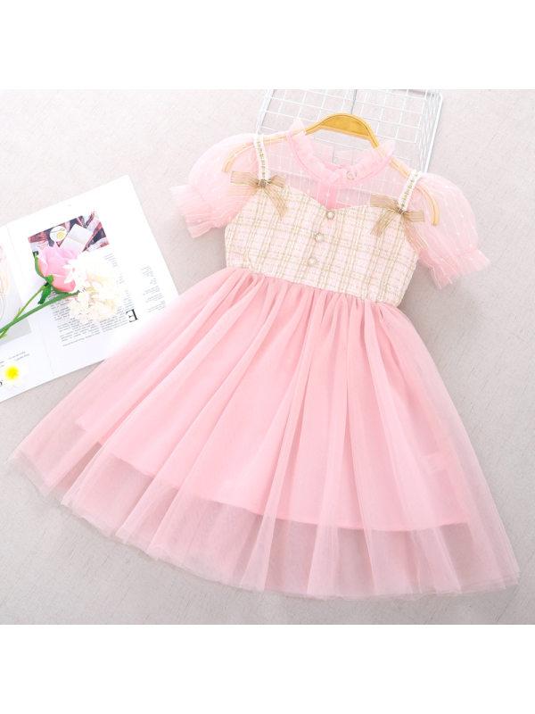 【3Y-11Y】Girl Sweet Short-sleeved Mesh Princess Dress
