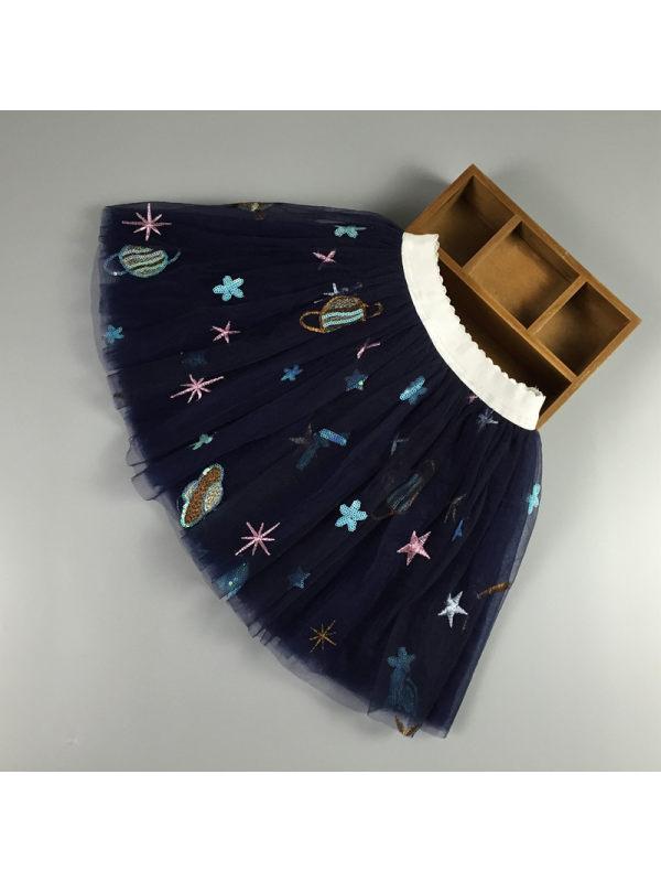 【2Y-11Y】Girls Mesh Cosmic Embroidered Tutu Skirt