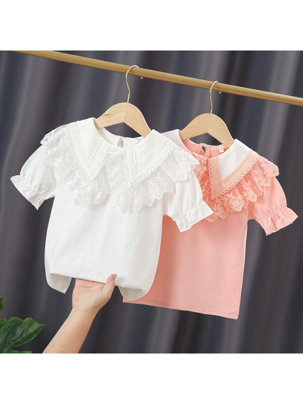 【3Y-13Y】Girls' Short-sleeved Cotton Lace Doll Collar Shirt