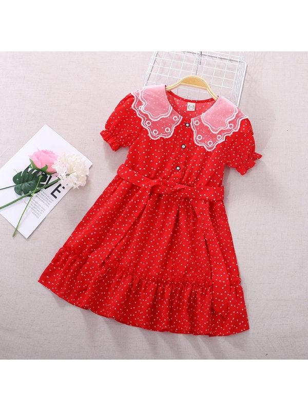 【3Y-11Y】Girls Lace Lapel Chiffon Dress