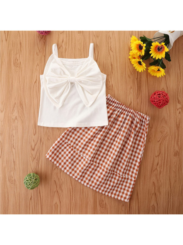 【18M-7Y】Girls Big Bow Sling Top With Plaid Skirt Suit