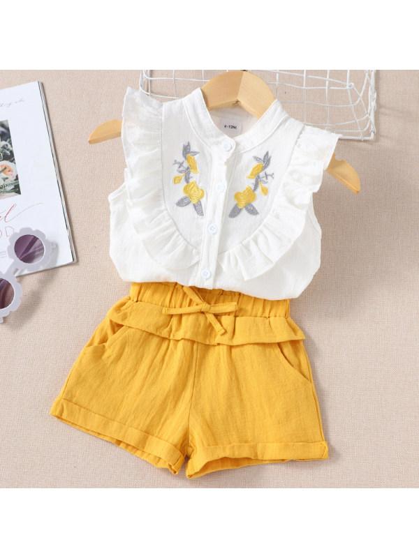 【6M-3Y】Girls Sweet Embroidered Sleeveless Shirt Shorts Set