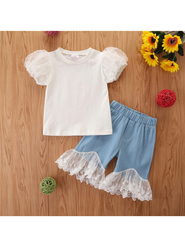 【18M-7Y】Girls Cute Puff Sleeve Top With Stitching Lace Jeans