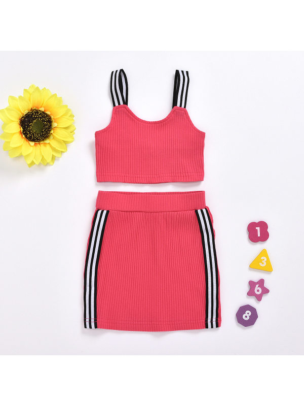 【18M-7Y】Girls Camisole Wrap Arm Skirt Two-piece Suit