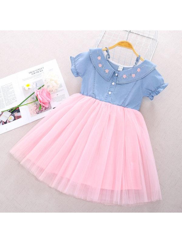 【3Y-11Y】Girl Denim Stitching Mesh Dress