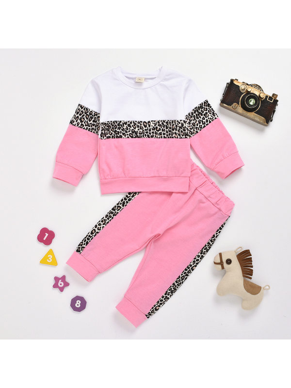 【12M-5Y】Girls Leopard Print Stitching Solid Color Long-sleeved Trousers Two-piece Suit