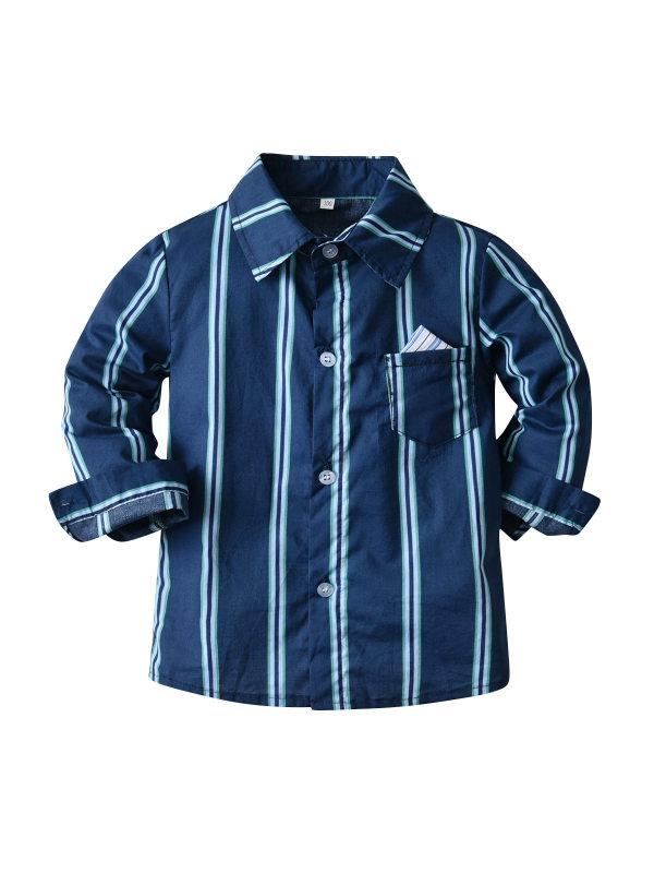 【12M-9Y】Boys Casual Long-sleeved Striped Shirt