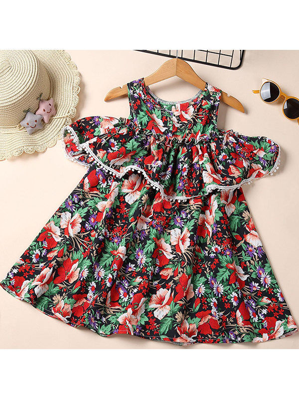 【18M-7Y】Girls' Big Flower Printed Cute Sleeveless Dresses