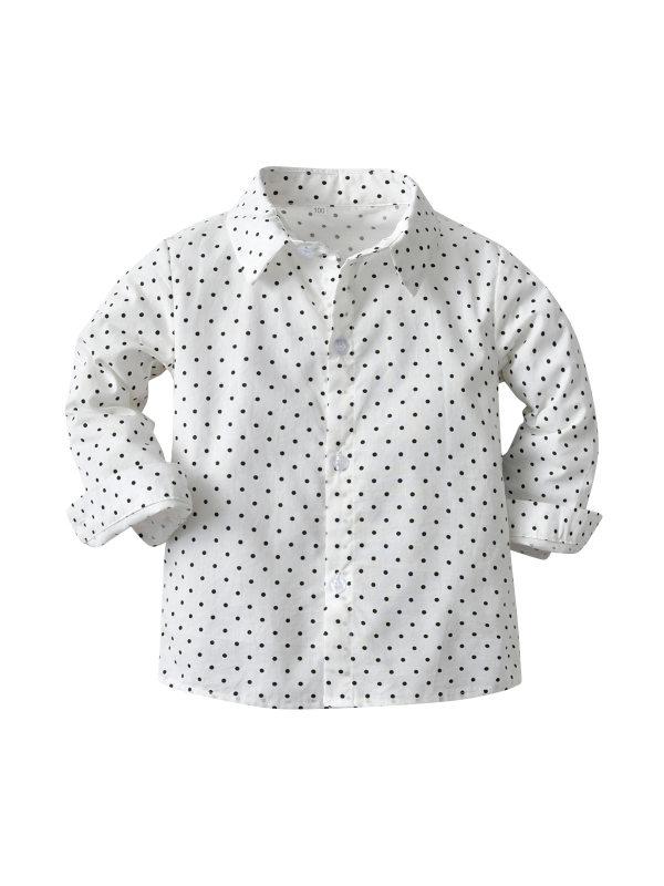 【12M-9Y】Boys Polka Dot Long-sleeved Shirt