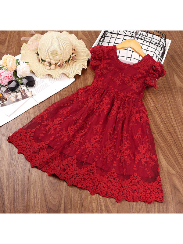 【2Y-9Y】Girls Bow Flying Sleeve Embroidered Mesh Princess Dress