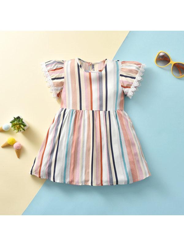 【12M-5Y】Girls' Colorful Stripes Dress
