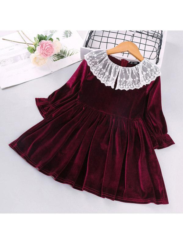 【2Y-9Y】Girls Long-sleeved Burgundy Velvet Dress