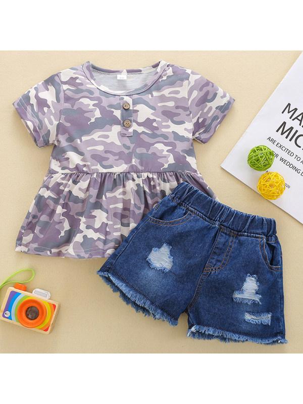 【12M-5Y】Girl Sweet Camouflage T-shirt Denim Shorts Set