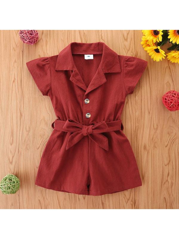 【18M-7Y】Fashion Orange Short Sleeved Orange Jumpsuit