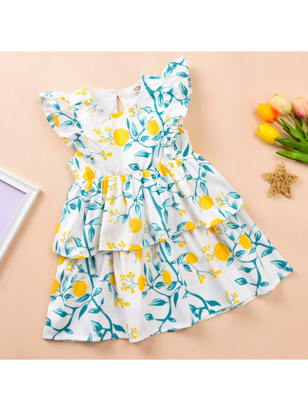 【18M-7Y】Sweet Flower Print Multi-layer Dress