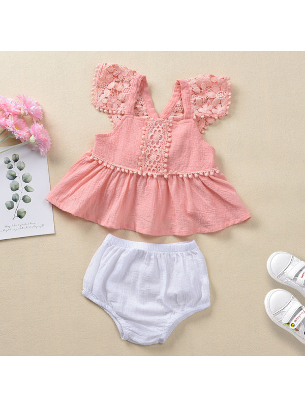 【6M-3Y】Cute Lace Pink Top and Shorts Set