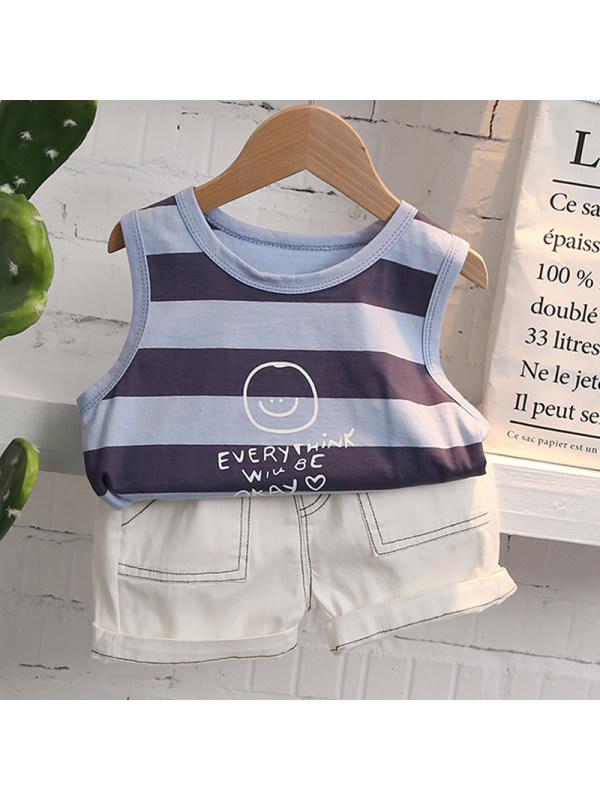 【12M-5Y】Boys Casual Striped Vest Shorts Suit