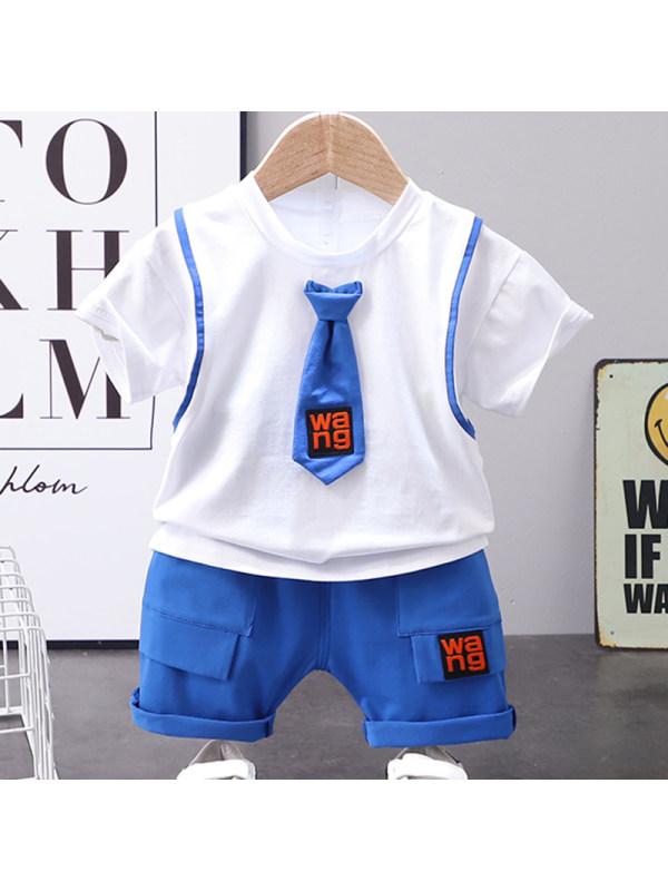 【12M-4Y】Boys Casual Tie Short Sleeve T-shirt Shorts Set