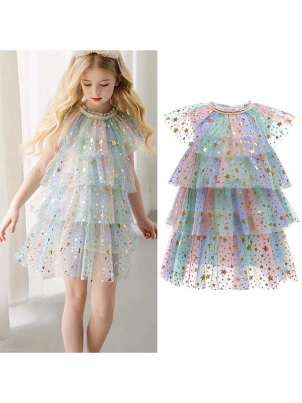 【2Y-11Y】Girls Sweet Star Mesh Sleeveless Cake Dress