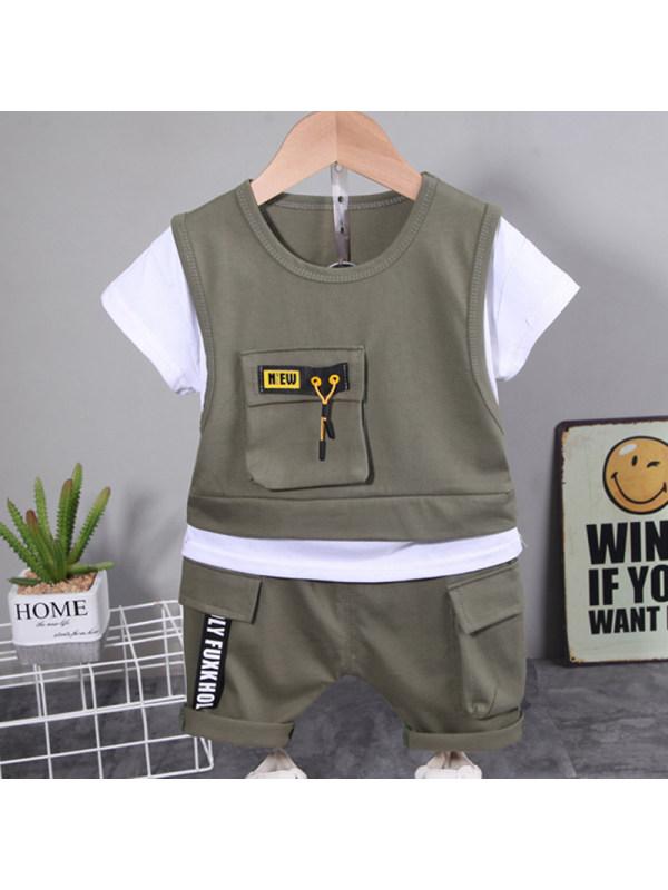 【12M-5Y】Boys Casual Short-sleeved T-shirt Shorts Set