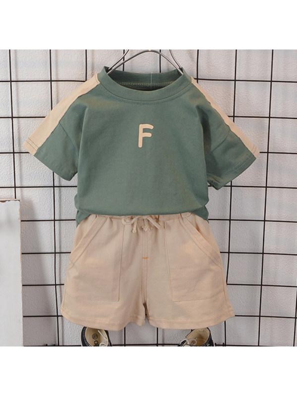 【12M-5Y】Boys Casual Letter Pattern Short Sleeve T-shirt Shorts Set