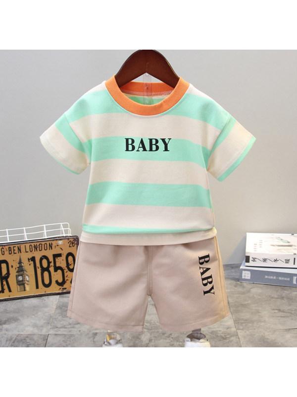 【12M-5Y】Boys Casual Striped Short-sleeved T-shirt Shorts Set