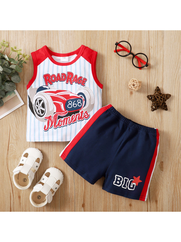 【3M-18M】Cute Cartoon and Letter Print Vest and Shorts Set