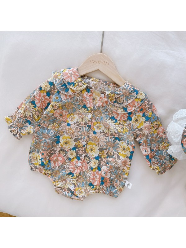 【3M-24M】Baby Girl Doll Collar Long Sleeve Flower One-piece