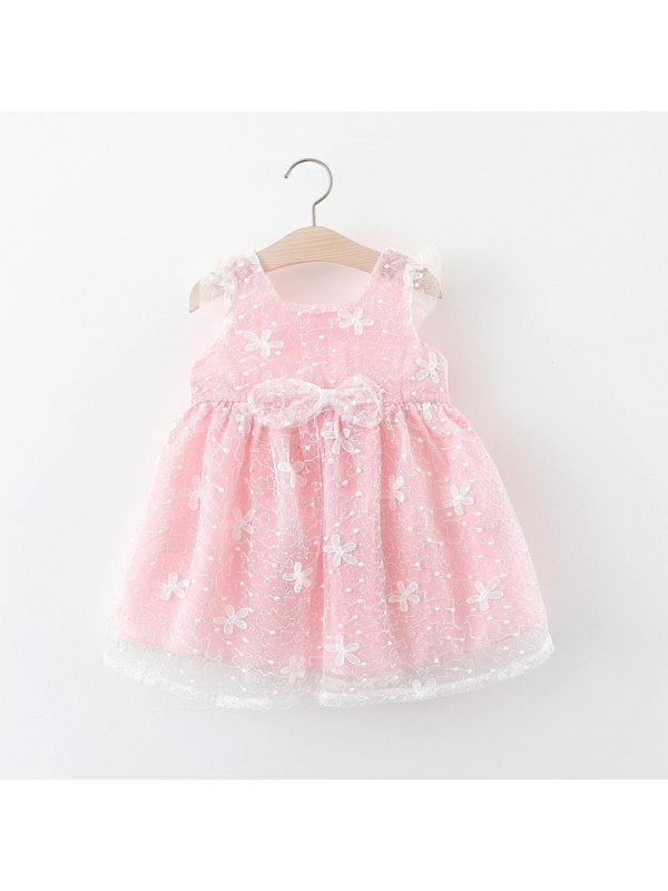 【12M-4Y】Girls Lace Bow Sleeveless Princess Dress