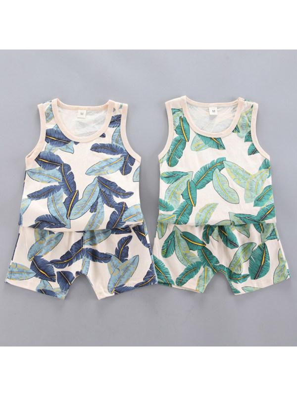 【12M-4Y】Boys Casual Leaf Pattern Vest Shorts Set