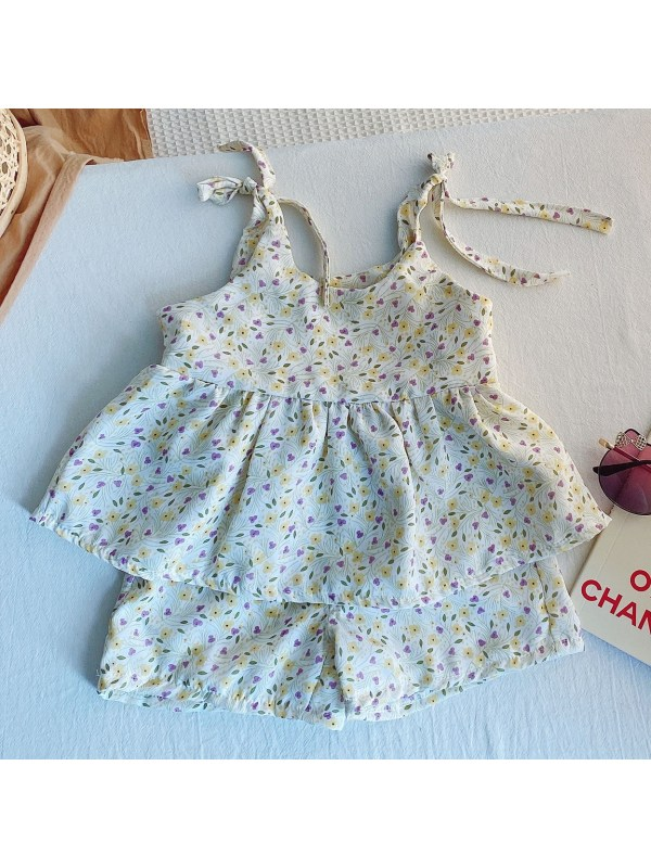 【12M-7Y】Girls' Round Neck Sling Floral Blouse With Shorts Suit