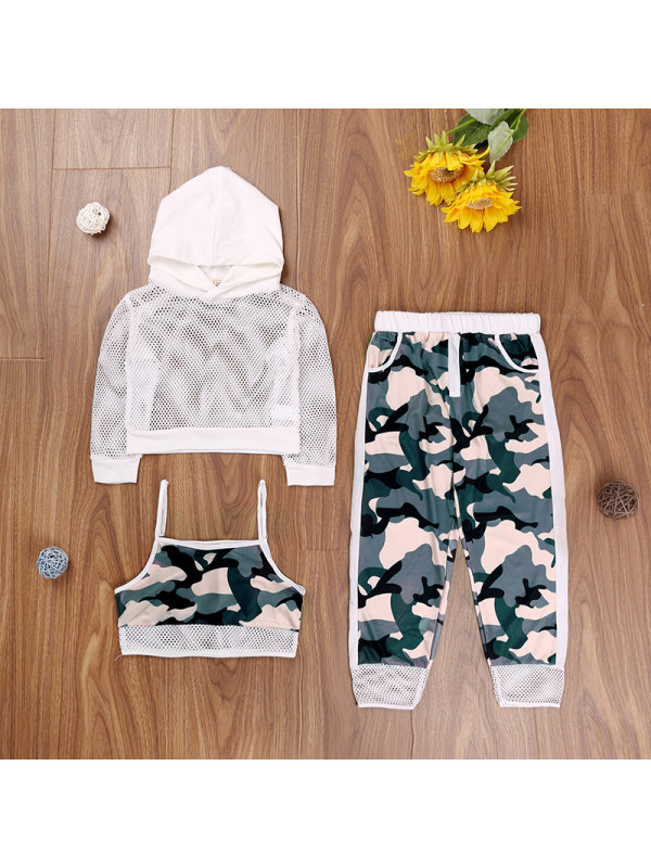 【3Y-11Y】Children's Sling Long-sleeved Shirt Camouflage Trousers Girls Suit